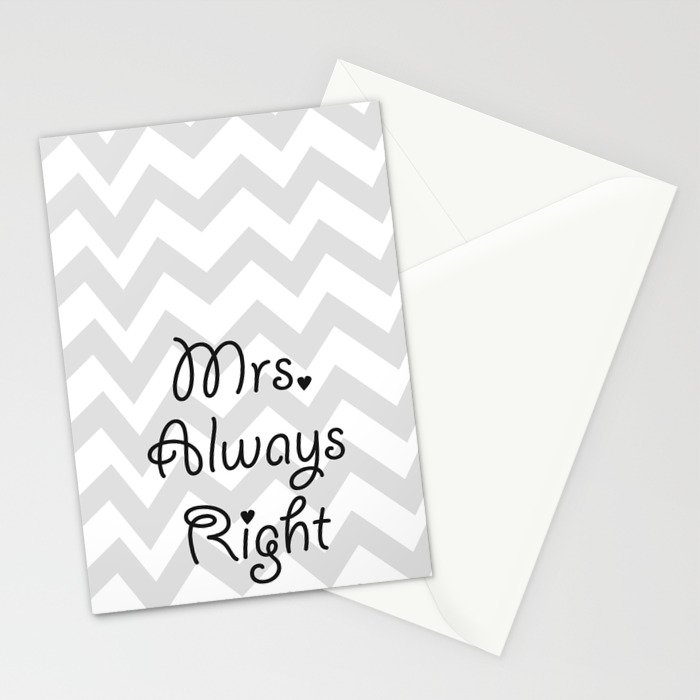 Mrs. Always Right Stationery Cards