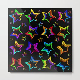 Neon bright stars. The pattern and the background of the stars on a black background Metal Print