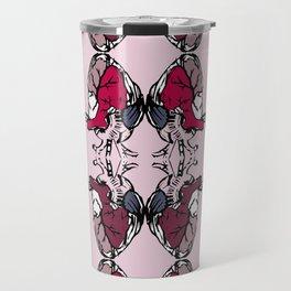Bounded pop hearts - colorful pop art pattern illustration Travel Mug