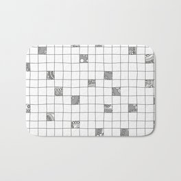 Abstract background with black and white crossword grid Bath Mat