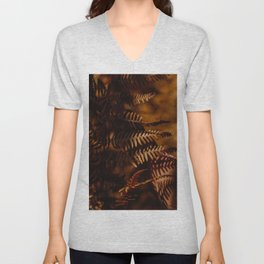 Autumn Fern Tree Leaf Brown Coffee Color Unisex V-Neck