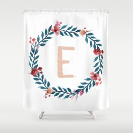 Watercolor Monogram Wreath Letter E Shower Curtain