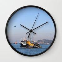fishing Wall Clocks featuring Fishing by kartalpaf