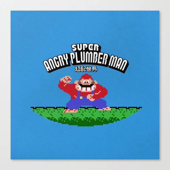 Super Angry Plumber Man Canvas Print