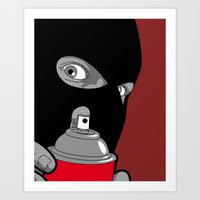 banksy Art Prints featuring Real Hero - Banksy by Greg Guillemin