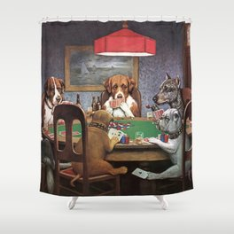 Dogs Playing Poker A Friend in Need Painting Shower Curtain