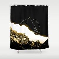 snowboarding Shower Curtains featuring Golden Mountain by Schwebewesen • Romina Lutz