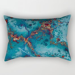 Blue fantasy marble Rectangular Pillow