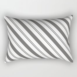 Pantone Pewter and White Stripes Angled Lines Rectangular Pillow