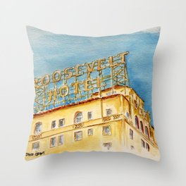 The Hollywood Roosevelt Hotel - Golden Era Icon on Hollywood Blvd Throw Pillow