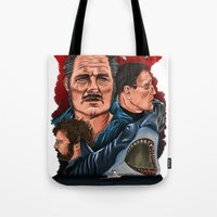 jaws Tote Bags featuring JAWS by David Amblard