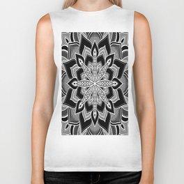 Mandala: Black Gray White Flower Biker Tank
