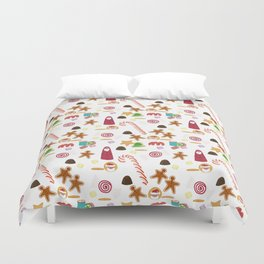 Christmas Sweeties Candies, Peppermints, Candy Canes and Chocolates Duvet Cover