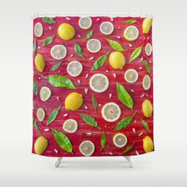 Fruits and leaves pattern (34) Shower Curtain