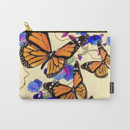 YELLOW MONARCH BUTTERFLY GARDEN & BLUE MORNING GLORIES ART Carry-All Pouch