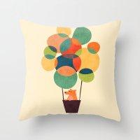 hot air balloon Throw Pillows featuring Whimsical Hot Air Balloon by Picomodi