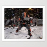 deathstroke Art Prints featuring DeathStroke Arkham Origin by Scofield Designs