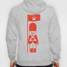 English toy soldier standard-bearer, drawing with letterpress effect. Hoody