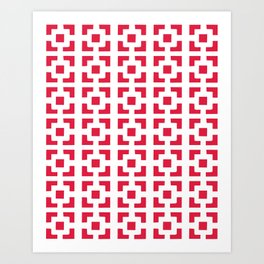 Red Tile pattern Art Print