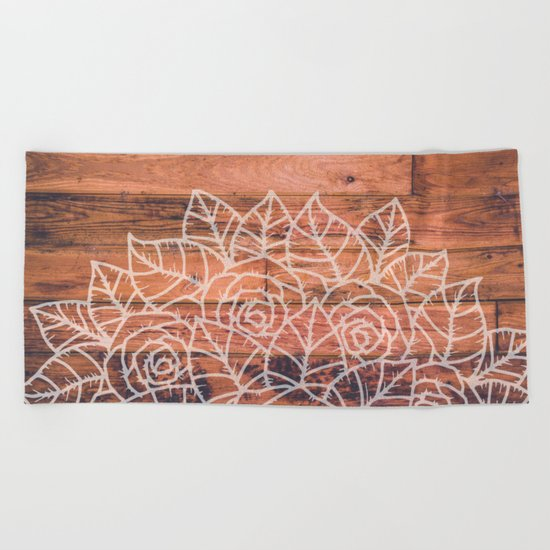 Wood Mandala I Beach Towel
