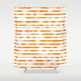 orange abstract striped pattern Shower Curtain