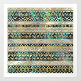Tribal Ethnic  Pattern Gold on Abalone Shell and Pearl Art Print