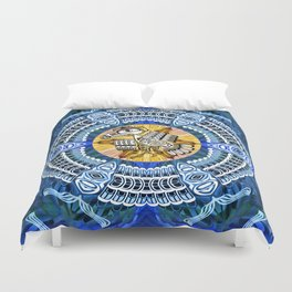 Raven Steals the Sun Pacific Northwest Coast Native Psychedelic Mandala Duvet Cover