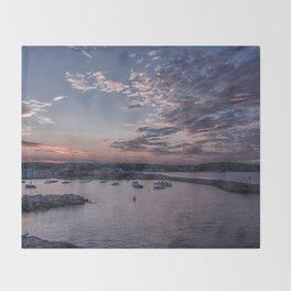Sunset over Rockport Harbor Throw Blanket