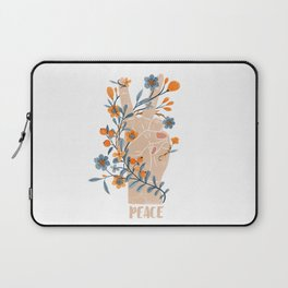Peace Sign With Orange Flowers, Blue Flowers And Vines Laptop Sleeve