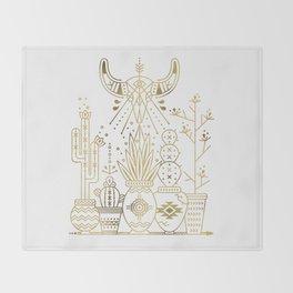 Santa Fe Garden – Gold Ink Throw Blanket