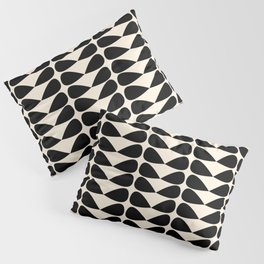 Mod Leaves Mid Century Modern Abstract Pattern in Black and Almond Cream Pillow Sham