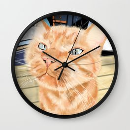 Oliver the Sniffy Red Tabby Cat Wall Clock