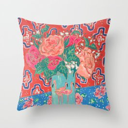 Roses in Enamel Flamingo Vase Throw Pillow