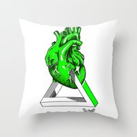 anatomical heart Throw Pillows featuring Green Anatomical heart  by Mia Hawk