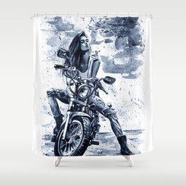 Biker Girl Shower Curtain