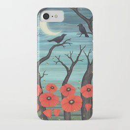 crows, fireflies, and poppies in the moonlight iPhone Case
