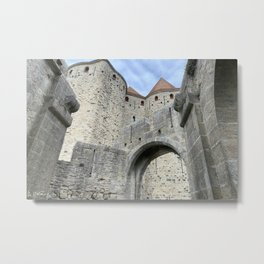 Fortifications inside the City of Carcassonne Metal Print