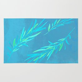 Eucalyptus leaves blue Rug