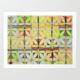 Dragonflies & Flowers Art Print