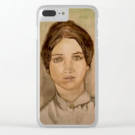 watercolor portrait of victorian lady Clear iPhone Case