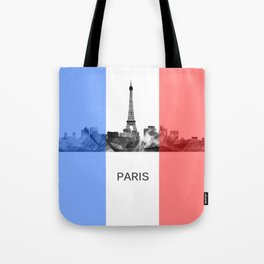 Paris, France skyline WB BW with French flag Tote Bag