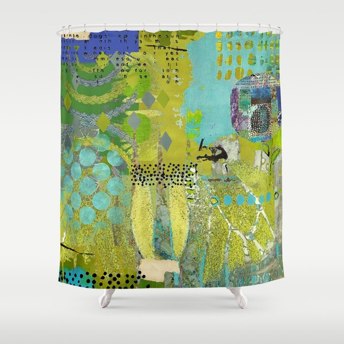 Being Green Abstract Art Collage Shower Curtain