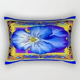 """""""Blue Ribbon Beauty"""" Pansy Art Abstract Design Rectangular Pillow"""
