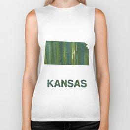 Kansas map outline Deep moss green watercolor Biker Tank