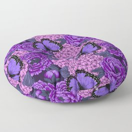 Blue morpho garden 2 Floor Pillow