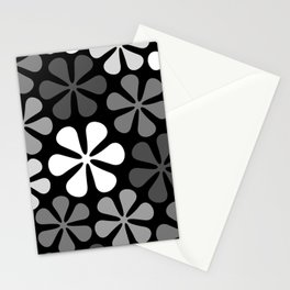 Abstract Flowers Monochrome Stationery Cards