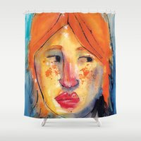 redhead Shower Curtains featuring Redhead by Danilo Gonçalves