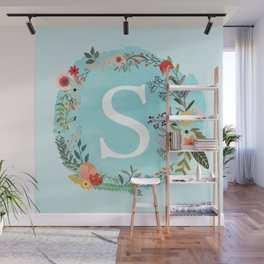 Personalized Monogram Initial Letter S Blue Watercolor Flower Wreath Artwork Wall Mural