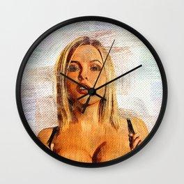 hot big boobs girl nice curves blond Wall Clock