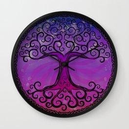 Tree of Life - Hot Pink Wall Clock